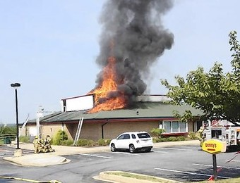 Denny's Restaurant on fire
