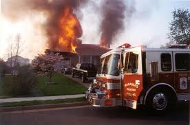 House fire and fire truck