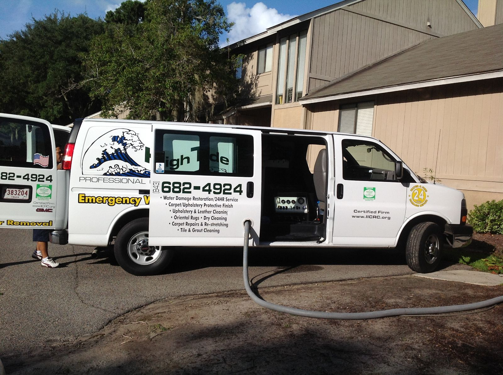 Carpet cleaning van and equipment